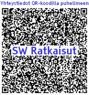 QR-koodi jossa on SW RAtkaisut palvelujen yhteystiedot